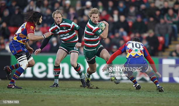 Billy Twelvetrees of Leicester charges upfield during the Heineken Cup pool 5 match between Leicester Tigers and Perpignan at Welford Road on...
