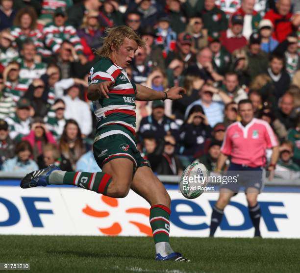 Billy Twelvetrees of Leicester kicks the ball upfield during the Heineken Cup match between Leicester Tigers and Ospreys at Welford Road on October...