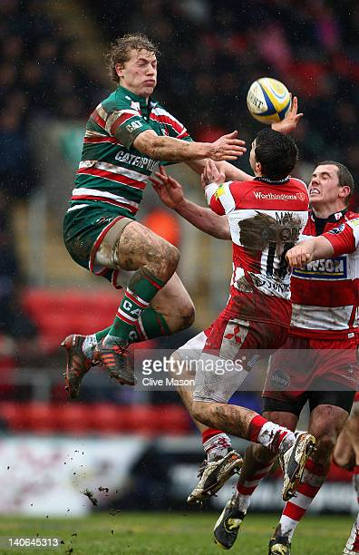 Billy Twelvetrees of Leicester Tigers looses the ball during the Aviva Premiership match between Leicester Tigers and Gloucester at Welford Road on...