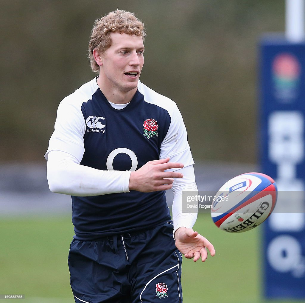 Billy Twelvetrees passes the ball during the England training session at Pennyhill Park on January 29, 2013 in Bagshot, England.