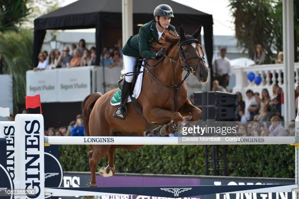 Billy Twomey of Ireland riding Kimba Flamenco during Longines FEI Jumping Nations Cup Final Competition on October 7 2018 in Barcelona Spain