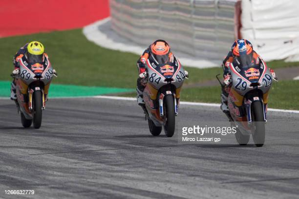 Billy Van Eerde of Australia leads the field during the Red Bull Rookies Cup race 2 during the MotoGP Of Austria - Race at Red Bull Ring on August...