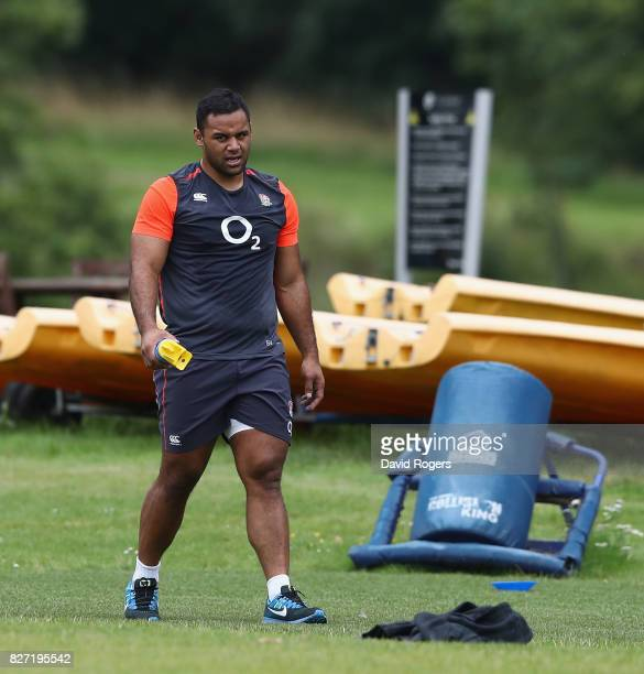 Billy Vunipola looks on during the England training session at the Lensbury Club on August 7 2017 in Teddington England
