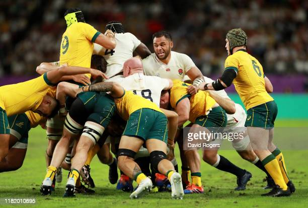 Billy Vunipola of England and team mates push Australia back in the scrum during the Rugby World Cup 2019 Quarter Final match between England and...