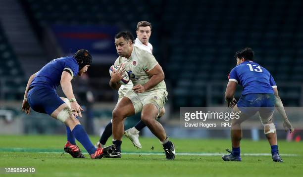 Billy Vunipola of England charges upfield during the Autumn Nations Cup Final and Quilter International match between England and France at...