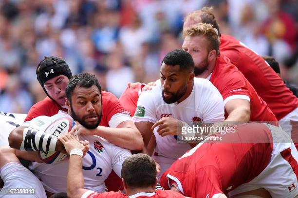 Billy Vunipola of England is tackled as he goes on to score his team's first try during the 2019 Quilter International match between England and...