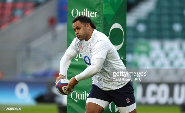 Billy Vunipola of England passes the ball in the warm up during the Autumn Nations Cup Final and Quilter International match between England and...