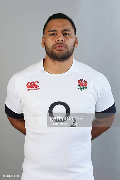 Billy Vunipola of England poses for a portrait during the England Six Nations Squad Photo Call at the Penny Hill Hotel on January 20 2014 in Bagshot...