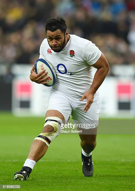 Billy Vunipola of England runs with the ball during the RBS Six Nations match between France and England at the Stade de France on March 19 2016 in...