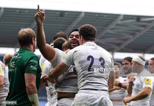 Billy Vunipola of Saracans celebrates after his team score a late try to win the game during the Aviva Premiership match between London Irish and...