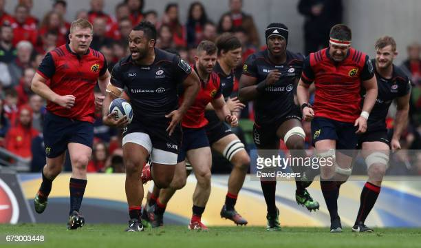 Billy Vunipola of Saracens breaks with the ball during the European Rugby Champions Cup semi final match between Munster and Saracens at the Aviva...