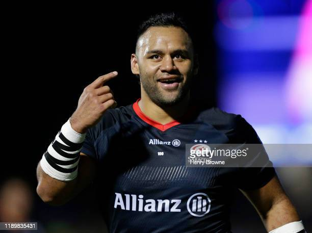 Billy Vunipola of Saracens during the Gallagher Premiership Rugby match between Saracens and Bristol Bears at Allianz Park on December 21, 2019 in...