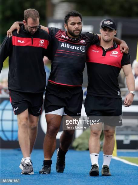 Billy Vunipola of Saracens goes off injured during the Aviva Premiership match between Saracens and Sale Sharks at Allianz Park on September 23 2017...