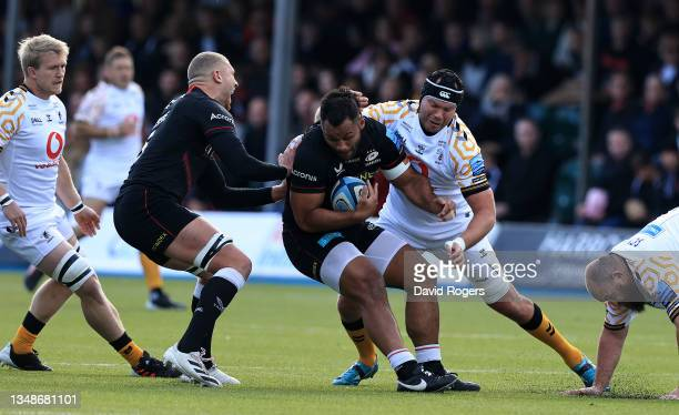 Billy Vunipola of Saracens is tackled by Sebastian de Chaves during the Gallagher Premiership Rugby match between Saracens and Wasps at StoneX...