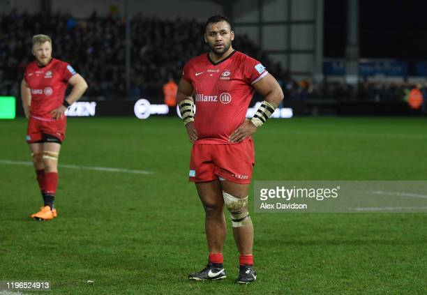 Billy Vunipola of Saracens looks on dejected after the Gallagher Premiership Rugby match between Exeter Chiefs and Saracens at Sandy Park Stadium on...