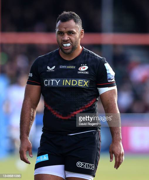 Billy Vunipola of Saracens looks on during the Gallagher Premiership Rugby match between Saracens and Wasps at StoneX Stadium on October 24, 2021 in...