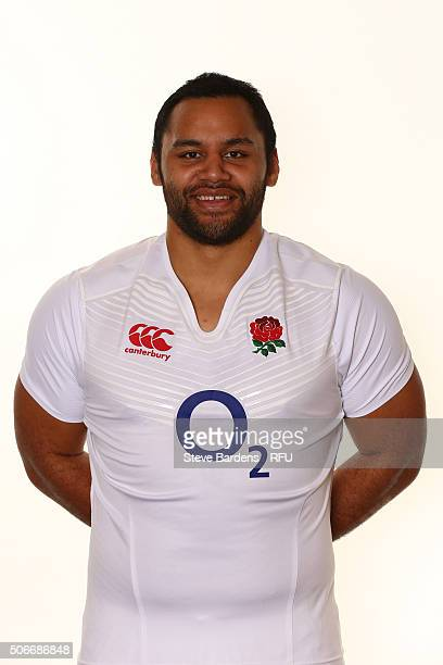 Billy Vunipola poses during the England EPS Six Nations Squad Portrait session at Pennyhill Park on January 25 2016 in Bagshot England