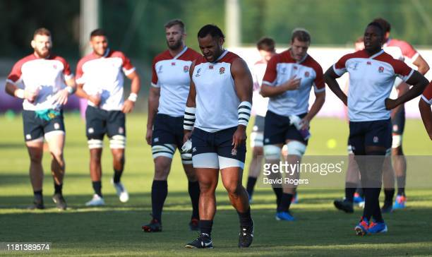 Billy Vunipola walks with fellow forwards during the England training session held at Jissoji Ground on October 16 2019 in Beppu Japan