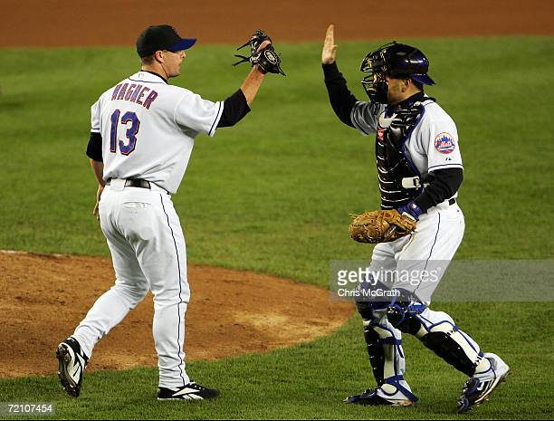 Billy Wagner celebrates with Paul Lo Duca of the New York Mets after defeating the Los Angeles Dodgers 41 to take game two of the National League...