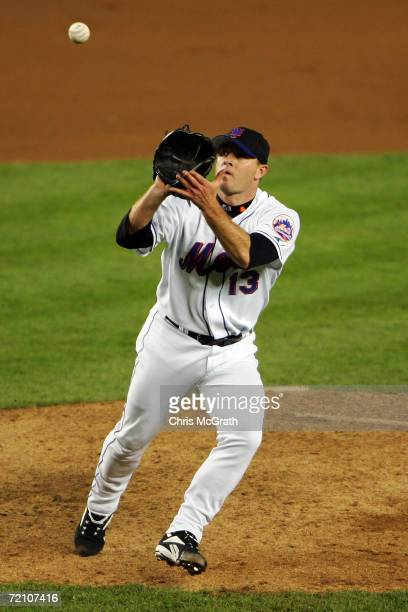 Billy Wagner of the New York Mets fields a ball against the Los Angeles Dodgers during game two of the National League Division Series at Shea...