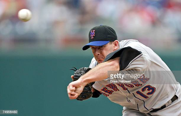 Billy Wagner of the New York Mets throws a pitch in the ninth inning during the game against the Philadelphia Phillies at Citizens Bank Park June 29...