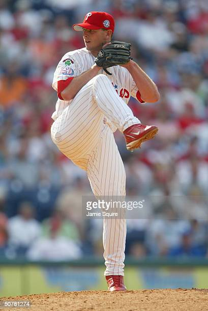 Billy Wagner of the Philadelphia Phillies pitches against the Montreal Expos at Citizens Bank Park on April 18 2004 in Philadelphia Pennsylvania The...