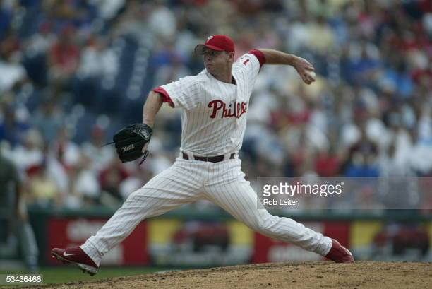 Billy Wagner of the Philadelphia Phillies pitches during the game against the Chicago Cubs at Citizens Bank Park on August 4 2005 in Philadelphia...
