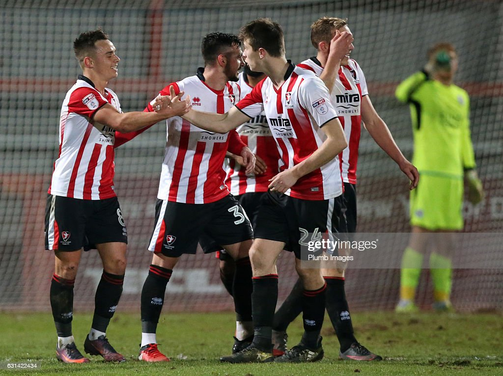 Billy Walters of Cheltenham Town celebrates after scoring to make it 4-1 during the EFL Checkatrade Trophy Second Round tie between Cheltenham Town and Leicester City at Whaddon Road Stadium on January 10, 2017 in Cheltenham, England.
