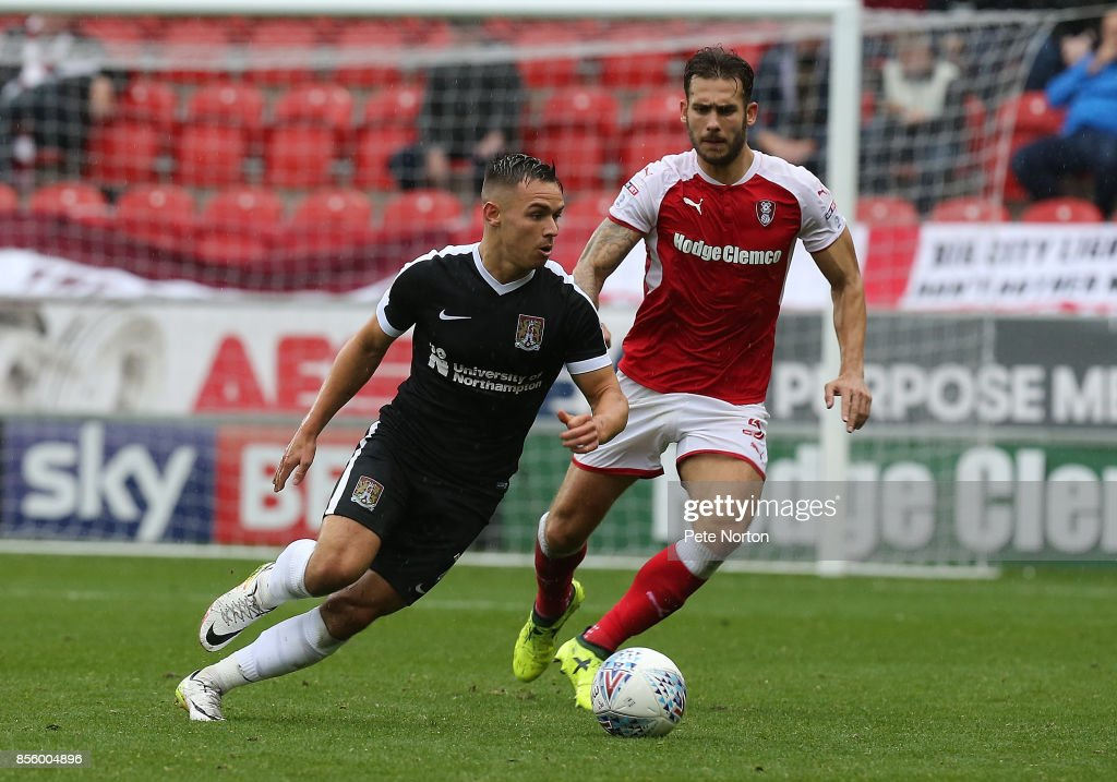Billy Waters of Northampton Town in action during the Sky Bet League One match between Rotherham United and Northampton Town at The Aesseal New York Stadium on September 30, 2017 in Rotherham, England.
