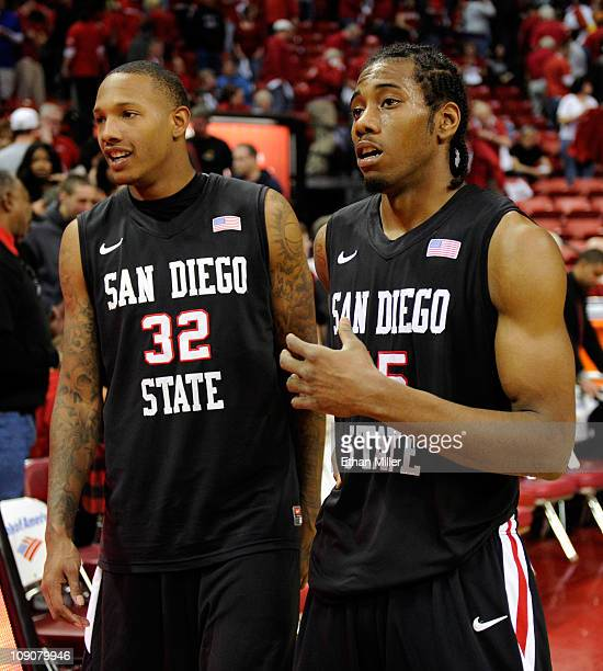 Billy White and and Kawhi Leonard of the San Diego State Aztecs celebrate their 6357 victory over the UNLV Rebels at the Thomas Mack Center February...