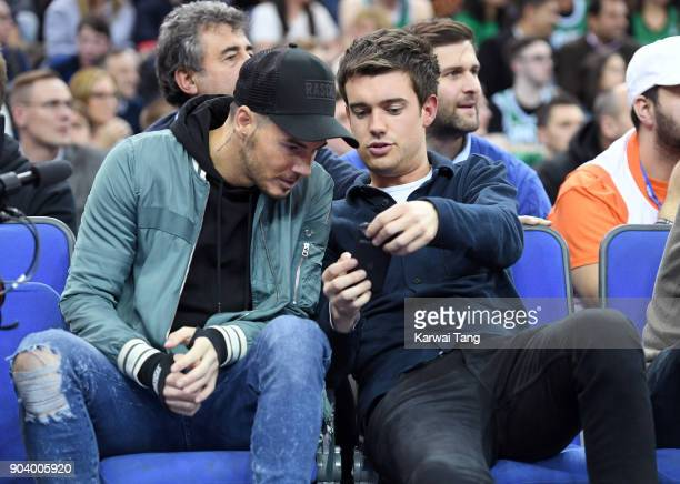 Billy Wingrove and Jack Whitehall attend the Philadelphia 76ers and Boston Celtics NBA London game at The O2 Arena on January 11 2018 in London...
