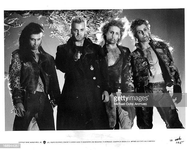 Billy Wirth Kiefer Sutherland Brooke McCarter and Alex Winter in a scene from the film 'The Lost Boys' 1987