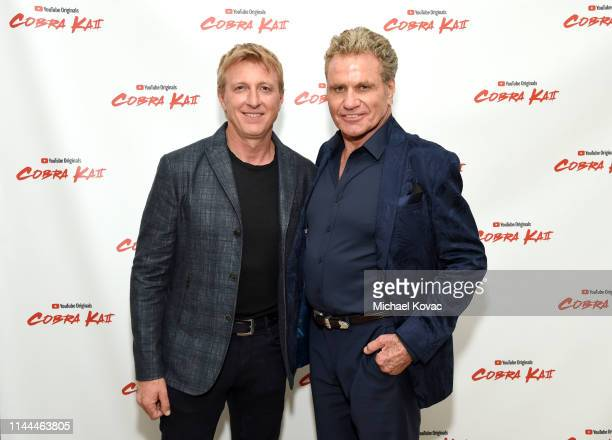 Billy Zabka and Martin Kove attend the Cobra Kai Premiere at The Paley Center for Media on April 22, 2019 in Beverly Hills, California.