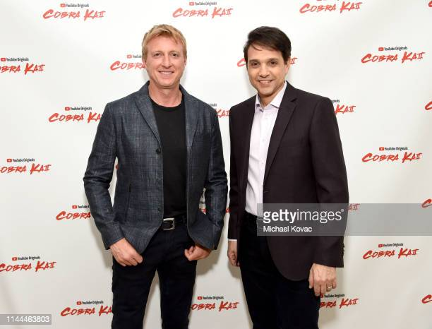 Billy Zabka and Ralph Macchio attend the Cobra Kai Premiere at The Paley Center for Media on April 22, 2019 in Beverly Hills, California.