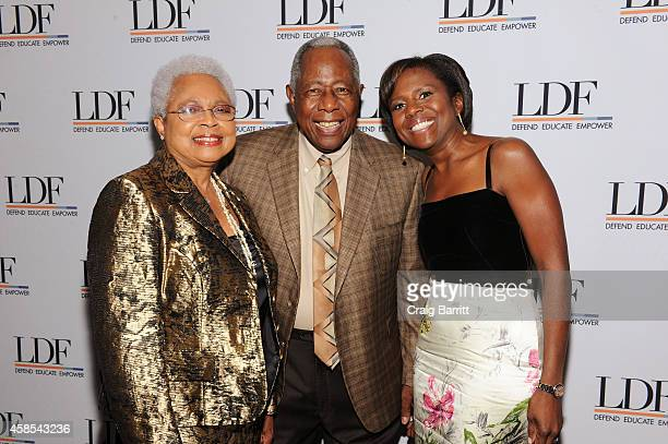 Billye Suber Aaron Hank Aaron and Deborah Roberts attend the Legal Defense Fund Annual Gala to commemorate the 60th anniversary of Brown V Board of...