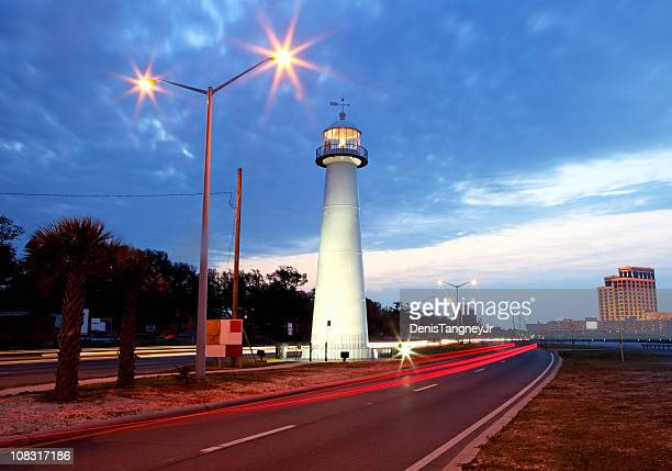biloxi lighthouse - gulf coast stock photos and pictures