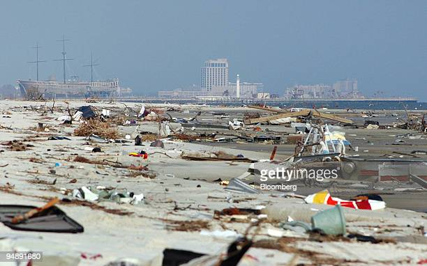 Biloxi's Treasure Bay Casino left background sits along Mississippi's debris covered Gulf Coast on Monday September 12 near US Highway 90 in Biloxi...