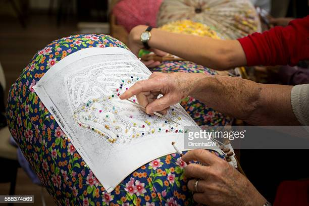 bilro lace making - lacemaking stock pictures, royalty-free photos & images