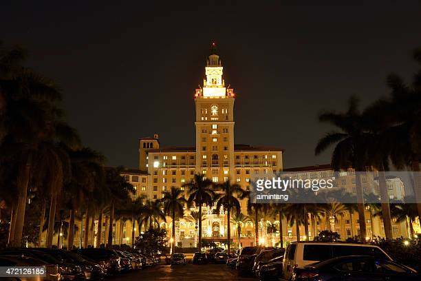 biltmore hotel in coral gables at night - coral gables stock pictures, royalty-free photos & images