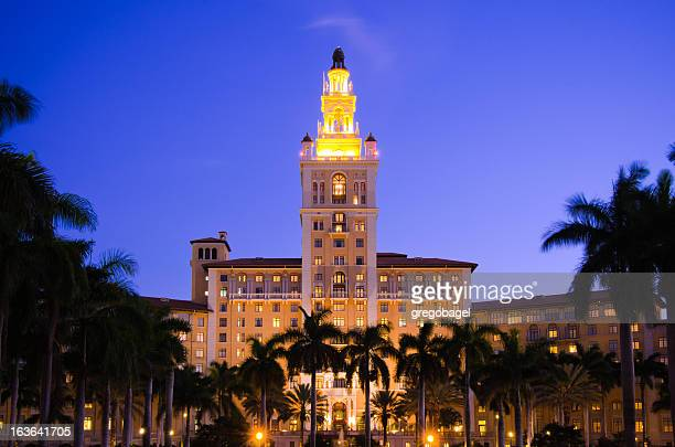 biltmore hotel in coral gables, fl at night - coral gables stock pictures, royalty-free photos & images