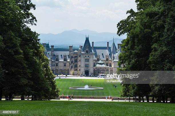 biltmore house shines through the trees. - asheville stock pictures, royalty-free photos & images