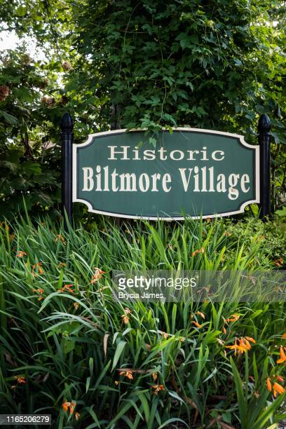 biltmore village sign - asheville stock pictures, royalty-free photos & images