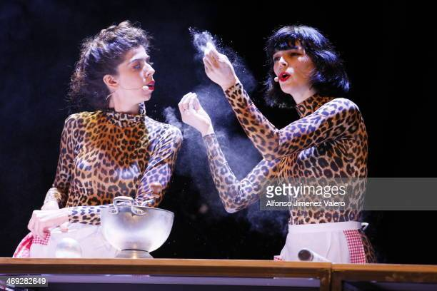 Bimba Boséand Julia de Castro at 'Antipasti' Theatre Play in Madrid on February 13, 2014 in Madrid, Spain.