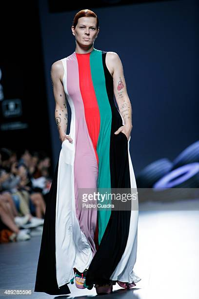 Bimba Bose showcases designs by David Delfin on the runway at the Davidelfin show during MercedesBenz Fashion Week Madrid Spring/Summer 2016 at Ifema...