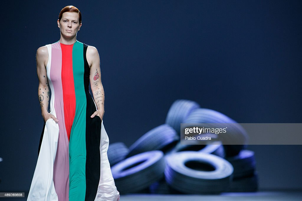 Bimba Bose showcases designs by David Delfin on the runway at the Davidelfin show during Mercedes-Benz Fashion Week Madrid Spring/Summer 2016 at Ifema on September 20, 2015 in Madrid, Spain.