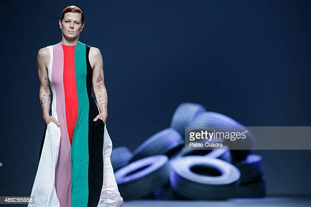 Bimba Bose showcases designs by David Delfin on the runway at the Davidelfin show during MercedesBenz Fashion Week Madrid Spring/Summer 2016 at Ifema...