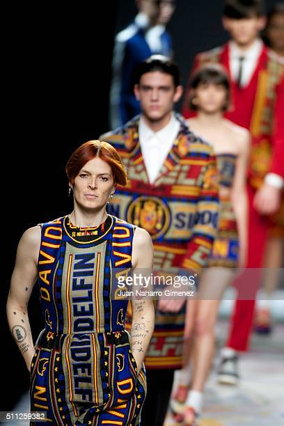 Bimba Bose walks the runway at the Davidelfin show during the MercedesBenz Madrid Fashion Week Autumn/Winter 2016/2017 at Ifema on February 19 2016...