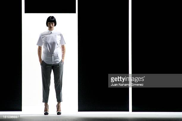 Bimba Bose walks the runway in the Davidelfin fashion show during the Cibeles Madrid Fashion Week Spring/Summer 2013 at Ifema on September 1 2012 in...