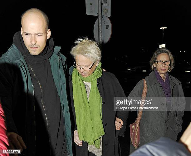 Bimba Bose's brother Olfo Bose, mother Lucia Dominguin and aunt Paola Dominguin attend the funeral chapel for Bimba Bose on January 23, 2017 in...