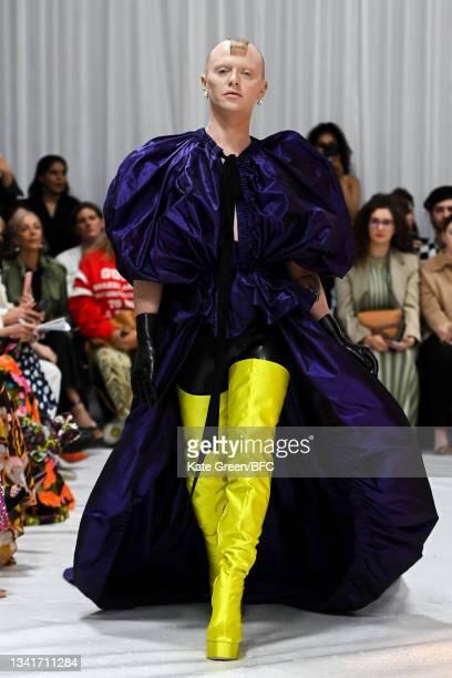 Bimini Bon-Boulash walks the runway at the Richard Quinn show during London Fashion Week September 2021 on September 21, 2021 in London, England.